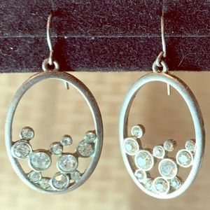 Crystals In Silver Costume Earrings